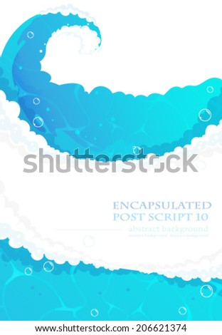 Blue water waves with foam and shiny bubbles. Clear water background. - stock vector