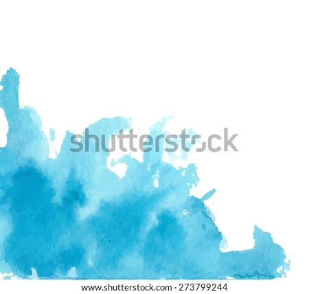 Blue watercolor background for textures and backgrounds. Vector illustration - stock vector