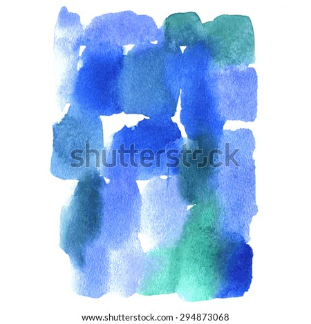 Blue watercolor background. Watercolor brush strokes, streaks, drips and stains. - stock vector
