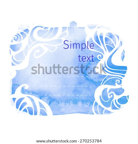 blue watercolor background with elements of Art Nouveau
