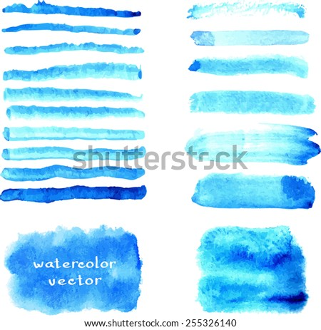 Blue watercolor brush strokes and splash banners isolated/ Hand drawn design elements collection/ EPS10 - stock vector