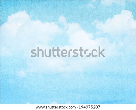 Blue watercolor cloud and sky. Spring, summer background.