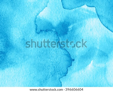 Blue watercolor ink splash water hand drawn paper grain texture vector decorative banner. Abstract wet brush paint smudges drops colorful artistic background for greeting card, wallpaper, scrapbook - stock vector
