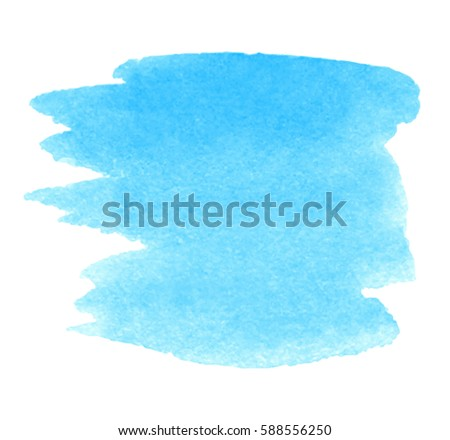 Blue transparent watercolor shape strokes isolated lager for Pastel teal paint