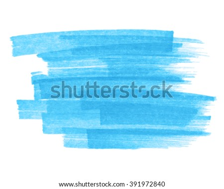 Blue watercolor marker hand drawn paper texture strokes isolated vector stain on white background. Abstract water paint striped artistic element for design, decoration, banner, template, web, print - stock vector