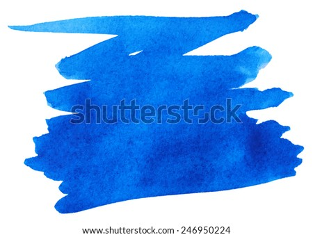 Blue watercolor paint stroke isolated on white background - stock vector