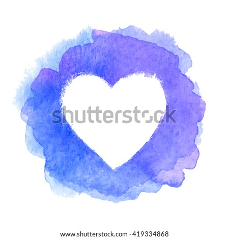 Blue watercolor painted heart shape vector frame - stock vector