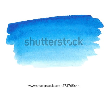 Blue watercolor paper texture hand drawn smudges isolated stain on white background. Wet brush painted strokes abstract vector striped illustration. Design artistic element for banner, template, print - stock vector