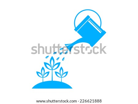 Blue watering can on white background  - stock vector