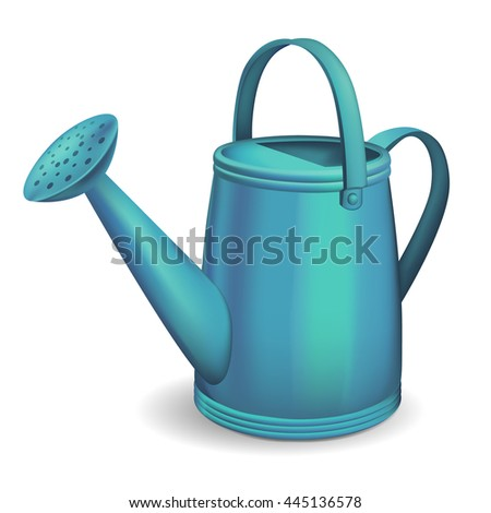 Blue watering can. Vector illustration.