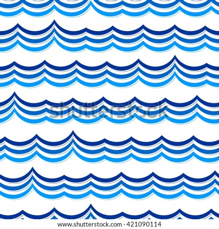 Blue wave background. Seamless pattern on white - stock vector