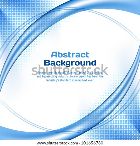 Blue wave background with halftone. - stock vector