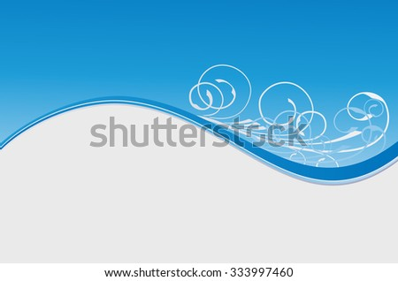 blue wave floral winter abstract background - stock vector