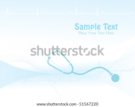 blue wave, heart beat background with stethoscope - stock vector