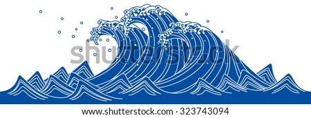 Blue Wave. Japanese style - stock vector