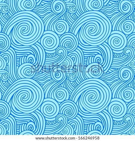Blue Wave Ornament - stock vector