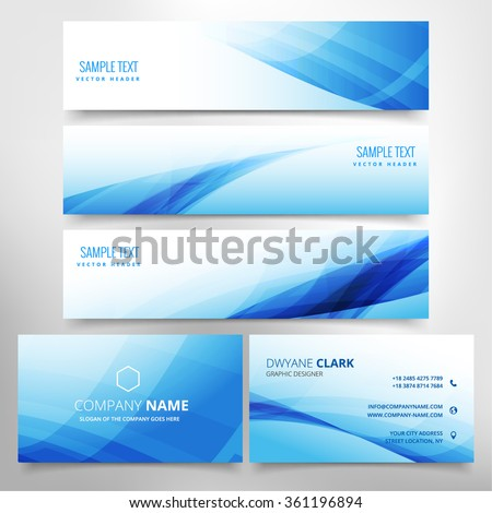 blue wave stationary set including business card and headers - stock vector