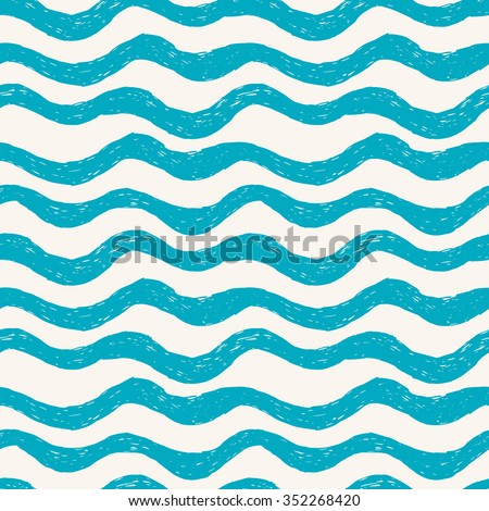 Blue waves. Seamless hand drawn pattern - stock vector