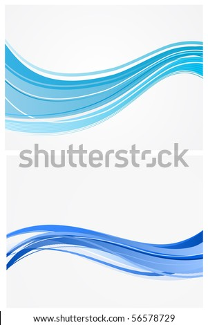 blue waves vector background - stock vector