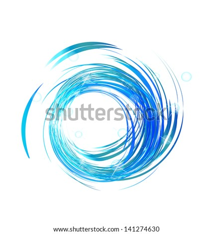 Blue waves with bright lights background vector - stock vector