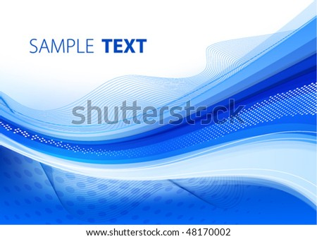 Blue wavy background. Vector