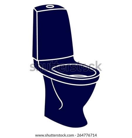 blue WC bathroom toilet - stock vector