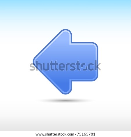 Blue web 2.0 button arrow icon right sign with gray drop shadow on white background - stock vector
