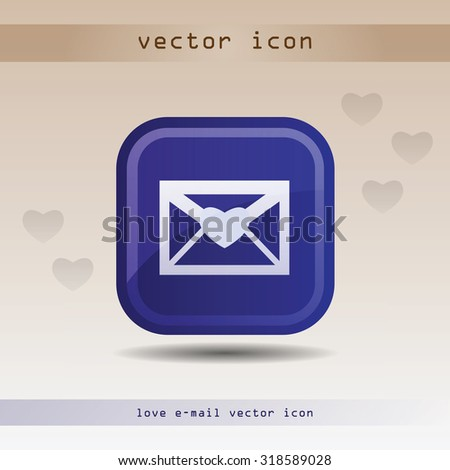 Blue web icon for email message with heart for applications design, websites, blogs. Vector illustration in web2.0 style - stock vector