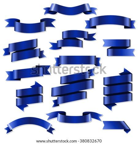Blue Web Ribbons Set, Vector Illustration - stock vector