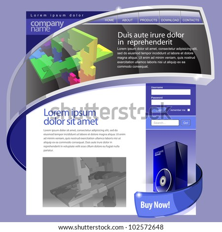 Blue Website Template 960 Grid. - stock vector
