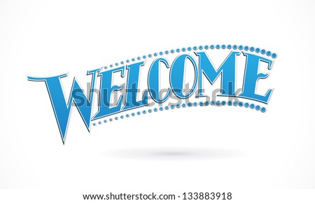 Blue Welcome Lettering Design vector - stock vector