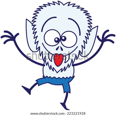 Blue werewolf with big head, bulging eyes, blue pants and sharp fangs while dancing, raising its arms, crossing its eyes, smiling, sticking its tongue out and making funny faces in a very amusing mood - stock vector