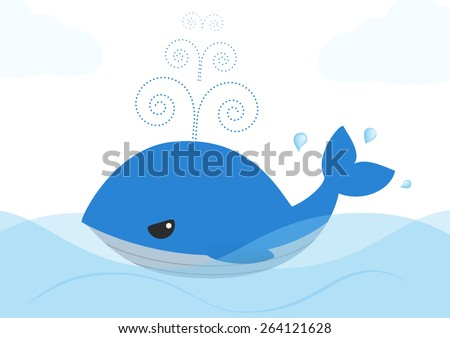 blue whale cartoon isolated over white background - stock vector