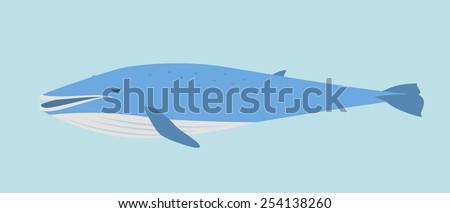 Blue Whale In Flat Style - stock vector