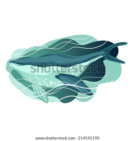 Blue whale in the waves - stock vector
