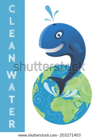 Blue whale jumping out of clean water Earth globe vector illustration