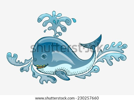blue whale on splash water hand draw - stock vector