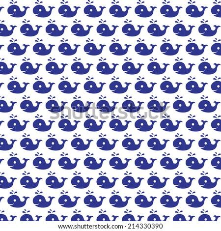 blue whale splash water pattern - stock vector