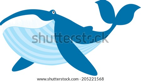 blue whale vector illustration isolated on white - stock vector