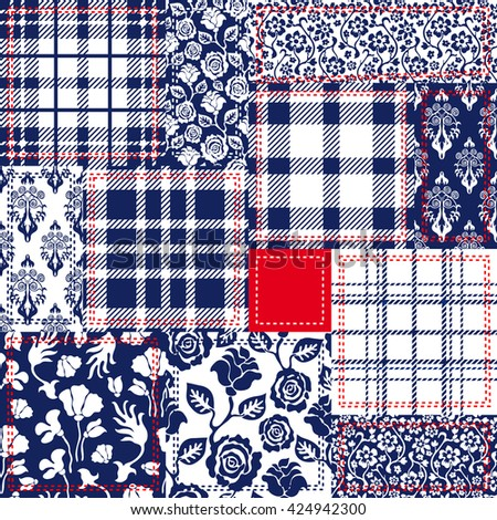 Blue, white and red patchwork. Bohemian style collage made from cotton flaps. Set of seamless vector patterns. Checkered fabrics, vintage roses, wild flowers, damask motifs. Retro textile collection