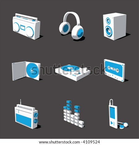 blue-white 3D icon set 07 - stock vector