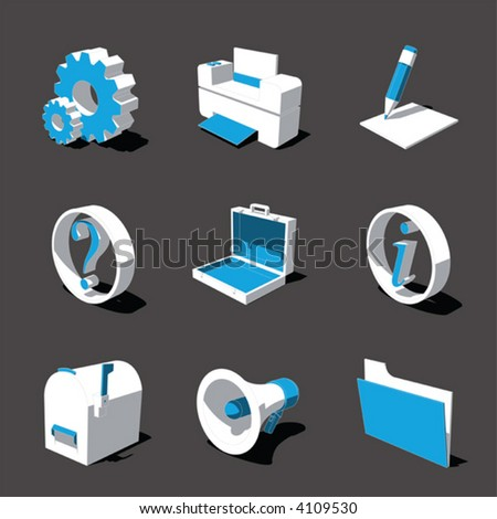 blue-white 3D icon set 02 - stock vector