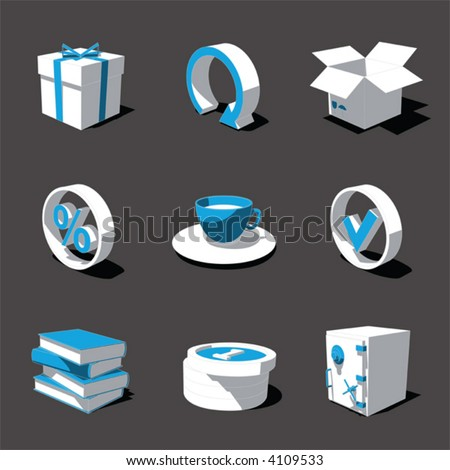 blue-white 3D icon set 04 - stock vector