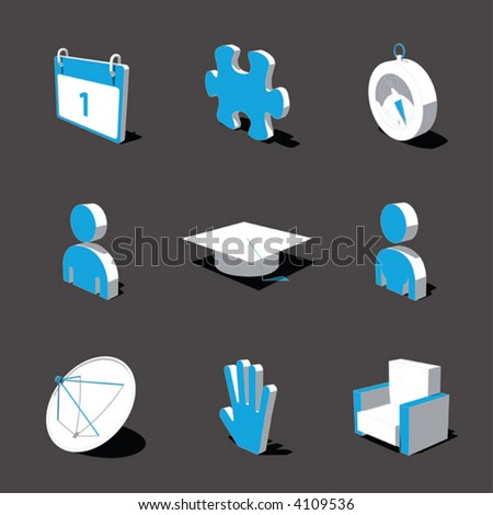 blue-white 3D icon set 05 - stock vector
