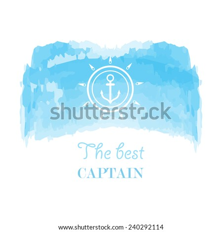 Blue white nautical emblem with sea wheel on a watercolor background - stock vector
