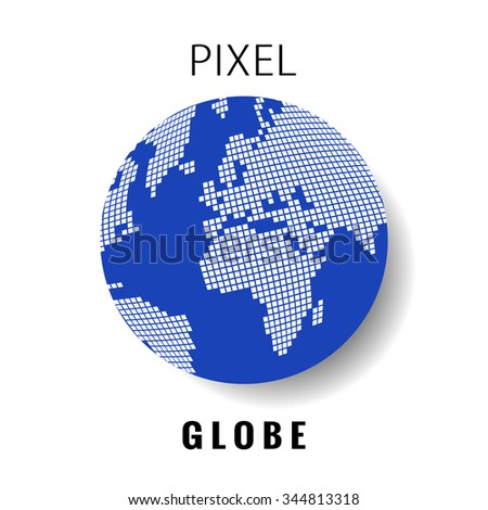 blue white pixel globe, world map - stock vector