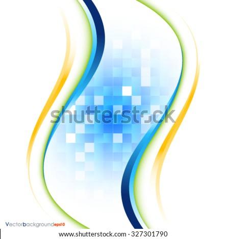 Blue white vector wave design vector illustration - stock vector