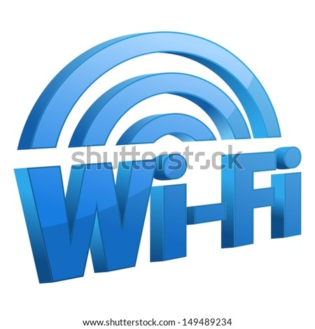 Blue wifi icon - stock vector