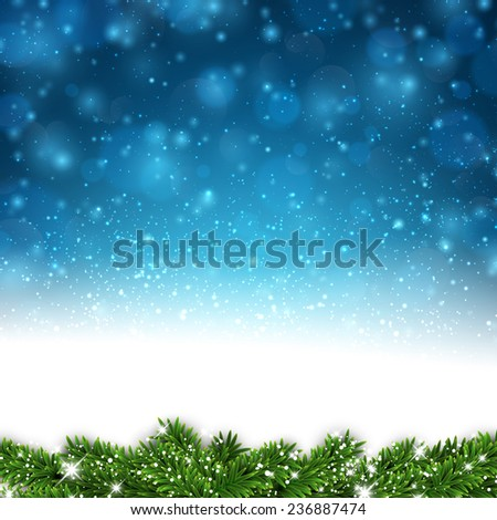 Blue winter abstract background. Christmas illustration with snowflakes and sparkles. Vector.  - stock vector