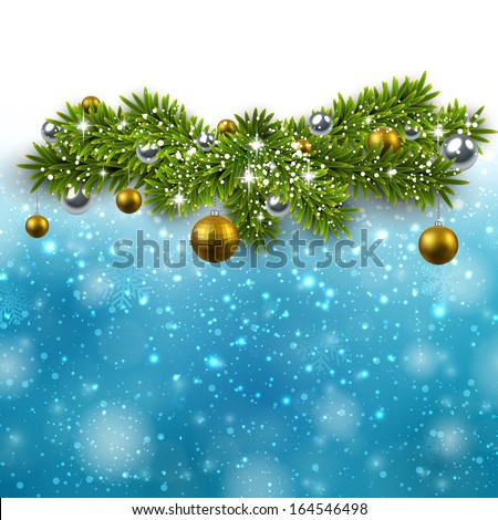 Blue winter abstract illustration with fir bundles and golden balls. Christmas background with snowflakes and sparkles. Vector.  - stock vector